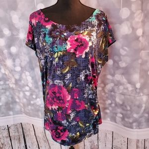 Jaclyn Smith Floral Pattern Cap Sleeve Blouse